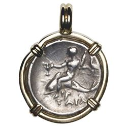 """Calabria, Tarentum, AR nomos, ca. 291 BC, """"boy on dolphin,"""" mounted dolphin-side out in 14K gold bez"""