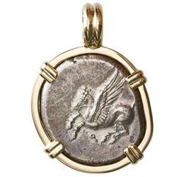 """Corinth, Corinthia, AR stater, 330-300 BC, """"pegasus,"""" mounted pegasus-side out in 14K gold bezel."""