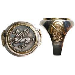 """Corinth, Corinthia, AR stater, 330-300 BC, """"pegasus,"""" mounted pegasus-side out in silver men's ring"""