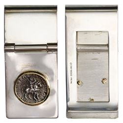 """Ancient Indo-Greek AR drachm """"horse,"""" ca. 90-40 BC, mounted horse-side out in 14K gold bezel on silv"""