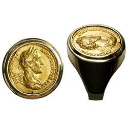 Roman Empire, AV aureus, Antoninus I Pius, 138-161 AD, mounted head-side out in 18K men's gold ring