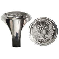 Roman Empire, AR denarius, Caracalla, 196-198 AD, struck under Septimius Severus, 197-198 AD, mounte