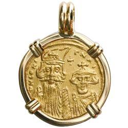 Byzantine Empire, AV solidus, Constans II (641-668 AD), mounted in 18K gold bezel.