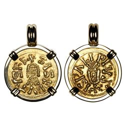 Visigoths (Spain), AV tremissis, Sisebut (612-621 AD), Ispalia mint (Seville), mounted in 18K gold b