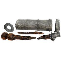 Pewter/wood clyster pump (caulk gun) in six parts, ex-1715 Fleet.