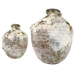 "Intact earthenware ""olive"" jar, encrusted as found, ex-Yucatan wreck."
