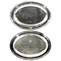 Silver-plated oval serving platter, with markings of rising sunface and interlaced P&O on top and El