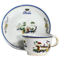 Small chinoiserie First Class demi-tasse (espresso) cup with saucer by Richard Ginori, ex-Andrea Dor