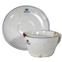 Large Cabin Class cup with saucer by Verbano, ex-Andrea Doria (1956), ex-Malone.