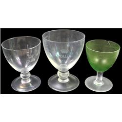 Lot of three glass goblets (two clear, one green), ex-Andrea Doria (1956), ex-Malone.