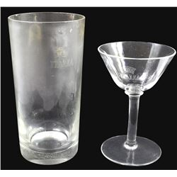 Lot of two glasses (one cordial and one tall), ex-Andrea Doria (1956), ex-Malone.