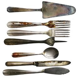 Lot of seven pieces of silver/flatware by F. Broggi, ex-Andrea Doria (1956), ex-Malone.