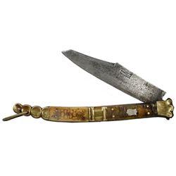 "Large Spanish sailor's navaja (folding knife), signed ""Beauvoir,"" 1800s."