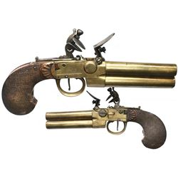 """European double-barrel gentleman's """"tap"""" action flintlock pistol, ca. 1790-early 1800s."""