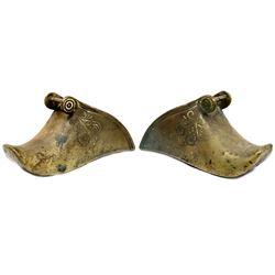 Pair of Spanish colonial cast brass stirrups (estribos), 1700s-1800s.