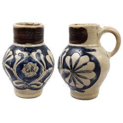 German Westerwald stoneware tavern pot with King George II design, mid-1700s.