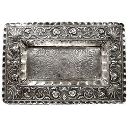 Large, ornate, rectangular silver tray from Potosi, Bolivia, late 1800s, silversmith J. Guzman (stam