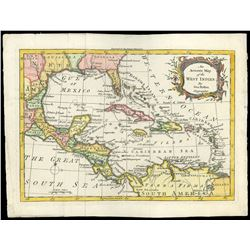 """Small, British map entitled """"An Accurate Map of the West Indies,"""" by George Rollos (London, 1762), e"""