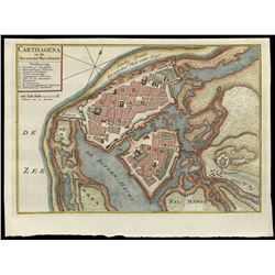 Dutch copper-engraved map of Cartagena, Colombia, ca. 1766, by Isaac Tirion.