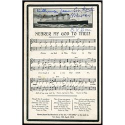 """Postcard showing the Titanic (sunk in 1912) and sheet music for """"Nearer My God to Thee,"""" with origin"""