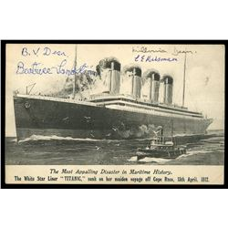Postcard showing the Titanic (sunk in 1912), with original signatures of four survivors of the wreck