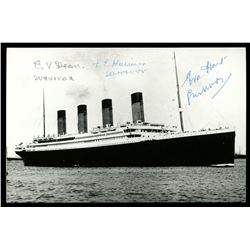 Postcard showing the Titanic (sunk in 1912), with original signatures of three survivors of the wrec