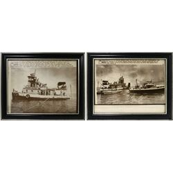 Lot of two framed UPI black-and-white photographs from 1975 showing the Treasure Salvors vessel Nort