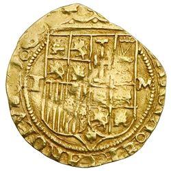 Toledo, Spain, cob 1 escudo, Charles-Joanna, assayer M to right, mintmark T to left.