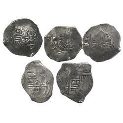 Lot of five Mexico City, Mexico, cob 4 reales, Philip IV, assayer P (where visible).