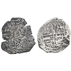 Lot of two Potosi, Bolivia, cob 2 reales, Philip III or IV, assayers not visible.