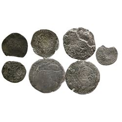 Lot of seven miscellaneous European silver coins of the late 1600s.