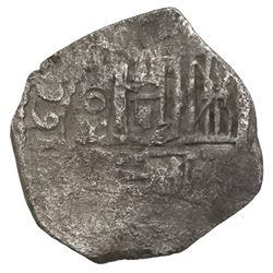 Mexico City, Mexico, cob 1 real, Philip IV or Charles II, assayer not visible (1660s).
