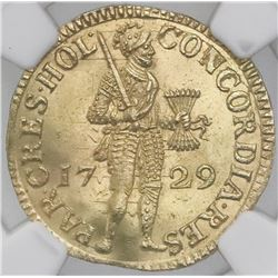 Holland, United Netherlands, gold ducat, 1729, NGC MS 62.