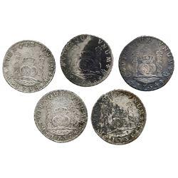 Lot of five Mexico City, Mexico, pillar 8 reales, Philip V, assayer MF: 1734, 1735, 1736, 1737, 1738