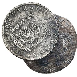 Lot of two crown-size coins: Mexico City, Mexico, pillar 8 reales, Philip V, 1735MF; and Brabant, Sp