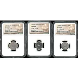 Lot of three Mexico City, Mexico, pillar 1R, Philip V, all NGC genuine / El Cazador: 1741MF, 1744M a