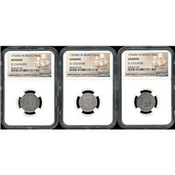 Lot of three Mexico City, Mexico, pillar 1R, Ferdinand VI, 1752M, all NGC genuine / El Cazador.