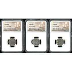 Lot of three Mexico City, Mexico, pillar 1R, Ferdinand VI, all NGC genuine / El Cazador: 1753M (two)