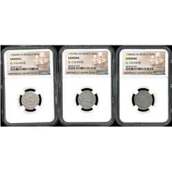 Lot of three Mexico City, Mexico, pillar 1R, Ferdinand VI and Charles III, all NGC genuine / El Caza