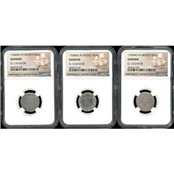 Lot of three Mexico City, Mexico, pillar 1R, Charles III, all NGC genuine / El Cazador: 1768M (two)