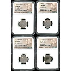 Lot of four Mexico City, Mexico, pillar 1R, Charles III, all NGC genuine / El Cazador: 1769M and 177