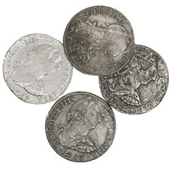 Lot of four Mexico City, Mexico, bust 8 reales, Charles III, 1783FF.