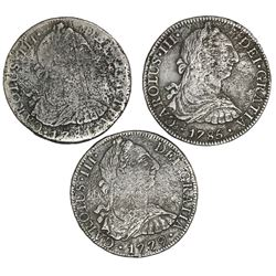Lot of three Mexico City, Mexico, bust 8 reales, Charles III, as follows: 1779FF, 1781FF and 1785FM.