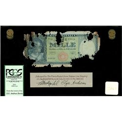 Italy, Banca D'Italia, 1000 lire, date not visible (10-2-1948), serial V92 070124, Einaudi-Urbini, P