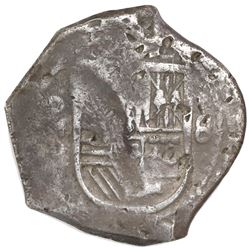 Mexico City, Mexico, cob 8 reales, Philip IV, assayer P, with chopmarks and test-marks as from circu