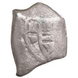 Mexico City, Mexico, cob 2 reales, Philip V or Louis I, assayer D, rare.