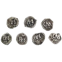 Lot of seven Lima, Peru, cob 1/2R of Charles II and Philip V: 1684, 1685, 1703, 1704, 1705, 1706, 17