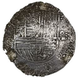 Potosi, Bolivia, cob 8 reales, Philip II, assayer not visible (style of 4th-period B).