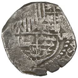 Potosi, Bolivia, cob 8 reales, Philip III, assayer not visible (T, ca. 1621), quadrants of cross and