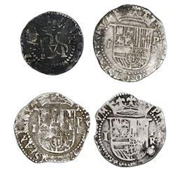 Lot of four Potosi, Bolivia, cob 1R (three) and 1/2R (one), Philip II, assayer R (Rincon).